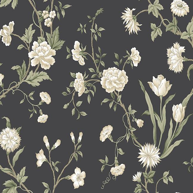 AB2121 Black White Gracie Floral Wallpaper by York