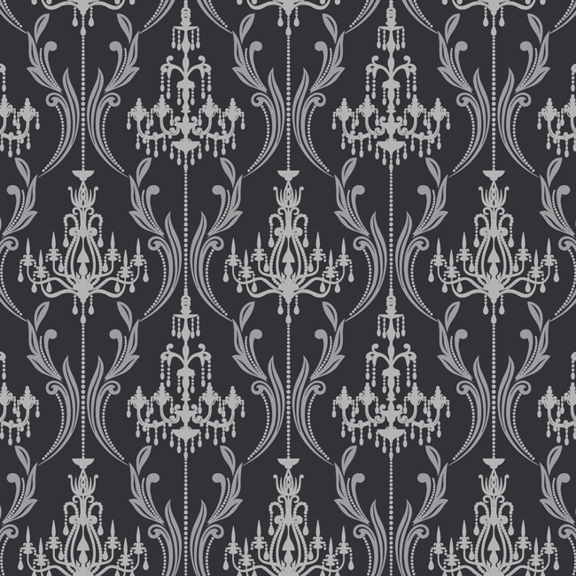 Damask Wall Paper ab2169 black & white chandelier damask wallpaperyork