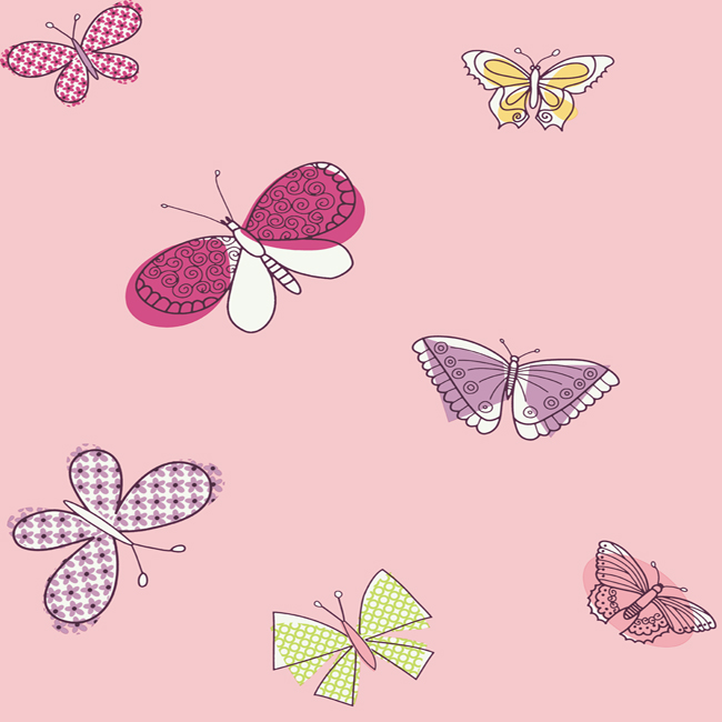 Pw4018 Girl Power 2 Butterflies Wallpaper By York
