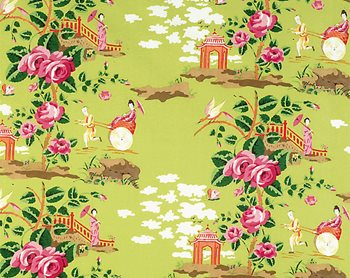 16429-004 China Rose Pink & Orange On Green by Scalamandre