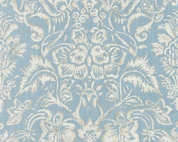 16598-002 Mansfield Damask Print Bluestone & Silver by Scalamandre