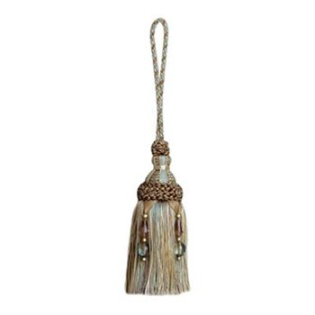 "7238-639 11 1/4"" Key Tassel - Beaded Turquoise/Cocoa by Duralee"