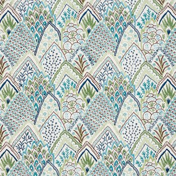 76311 Albizia Embroidery Blue & Green by Schumacher