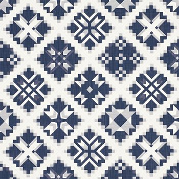 76760 Tristan Patchwork Indigo by Schumacher