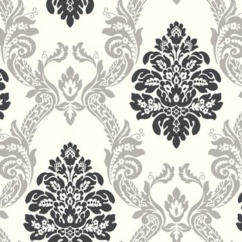 AB2027 Black White Ogee Damask Wallpaper By York