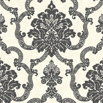 AB2182 Black White Decorative Damask Wallpaper By York