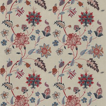 BF10784.1 Baker's Indienne Embroidery Indigo/Red by G P & J Baker