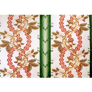 BR-79510.449 Josselin Cotton and Linen Print Cypress and Coral by Brunschwig & Fils