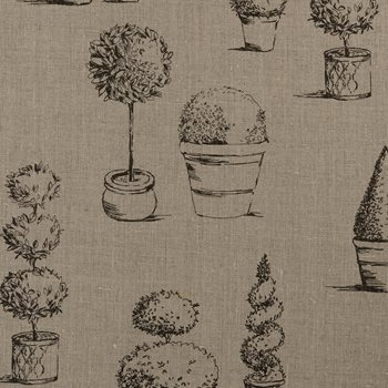 F0430-3 Topiary Linen by Clarke and Clarke