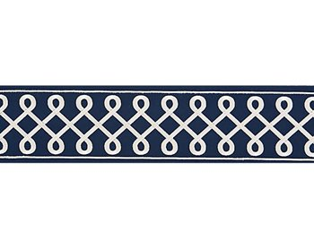 T3281-006 Soutache Embroidered Tape Navy by Scalamandre