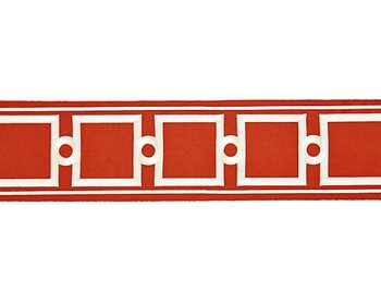 T3287-005 Square Link Embroidered Tape Carnelian by Scalamandre