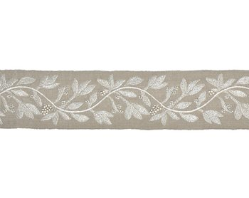 T3292-002 Laurel Embroidered Tape Flax by Scalamandre