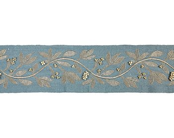 T3292-003 Laurel Embroidered Tape Bluestone by Scalamandre
