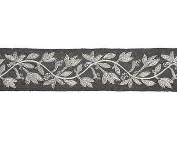 T3292-004 Laurel Embroidered Tape Charcoal by Scalamandre