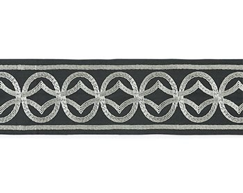 T3305-004 Athena Embroidered Tape Charcoal by Scalamandre