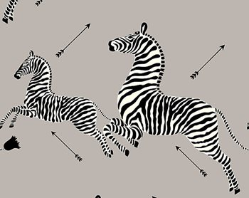 WP81388M-010 Zebras - Wallpaper Silver by Scalamandre