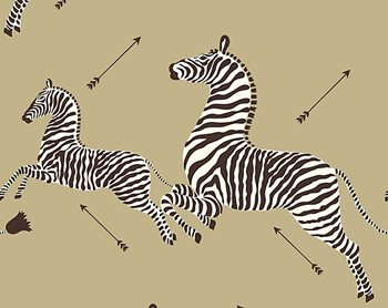 WP81388M-011 Zebras - Wallpaper Gold by Scalamandre